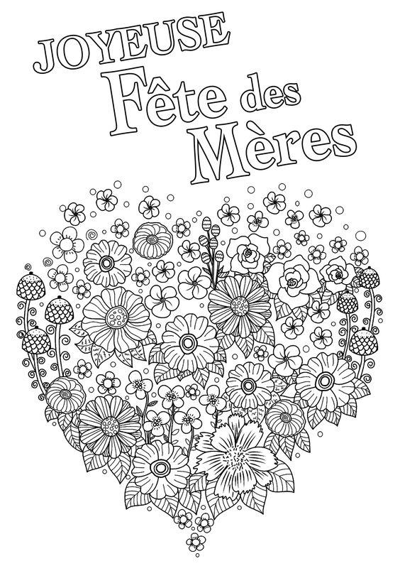 Joyeuse Fête des Mères avec coeur plein de fleurs - Coloriage fête des mères : Joli coeur plein de fleurs. Galerie : Fete Des Meres. Just Color : Découvrez tous nos Coloriages pour Adultes, à imprimer ou à télécharger gratuitement !