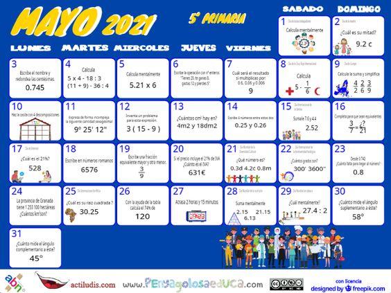 Calendario Quinto ABN – Mayo 2021