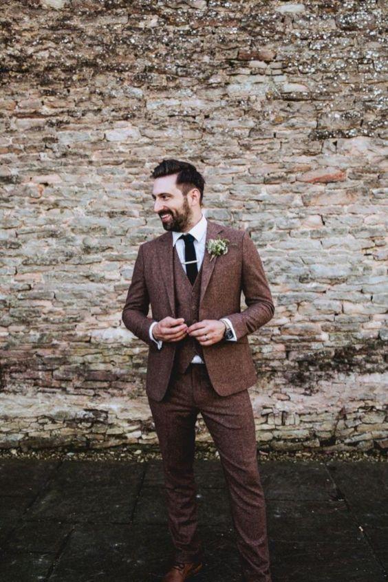 Groom Fashion Inspiration 45 Groom Suit Ideas Vintage Wedding Suits Brown Suit Wedding Wedding Suits Men