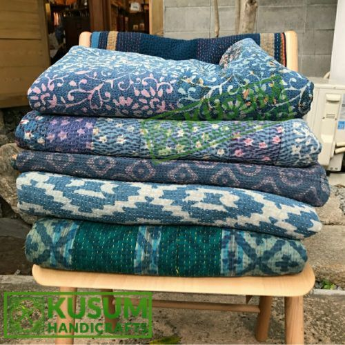 Blue Natural Color Kantha Quilt Twin Size Vintage Indigo Kantha Throw Hand Stitched Indigo Kantha Blanket Reversible Indigo Kantha Bedspread