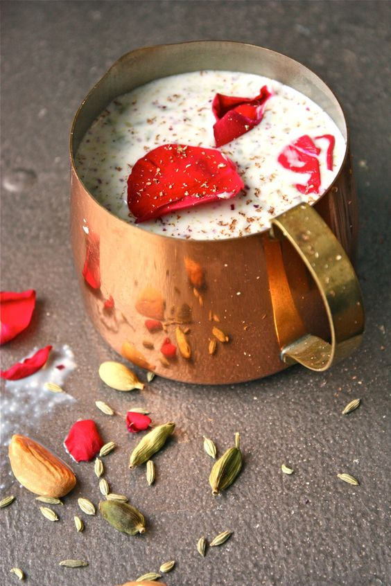 Thandai ~ Indian thandai, literally translated as something that cools, is a sweet, creamy milk drink flavored with nuts and mixed with spices such as cardamom, fennel, rose petals, and poppy seeds.