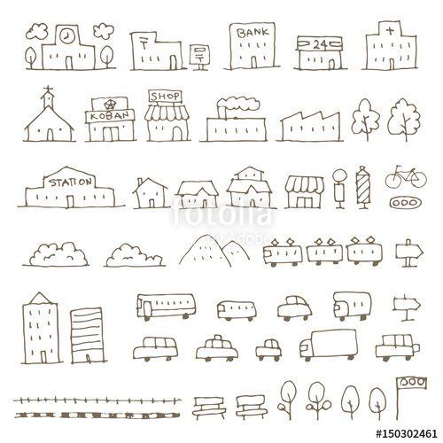 ロイヤリティーフリーのベクター かわいい手描き地図用建物 乗り物