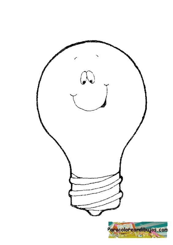 Dibujo de bombilla para colorear broken bulb foco roto for Focos para iluminar arboles