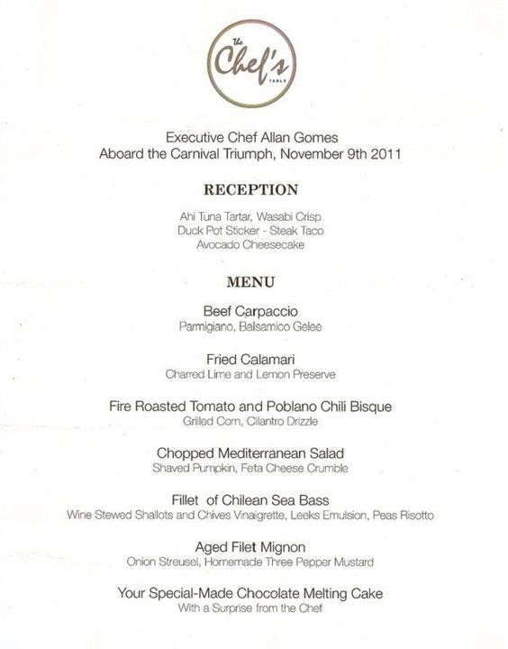 Carnival Cruise Lines  Chef's Table Menu  Cruisin' In The Sea Captivating Carnival Cruise Dining Room Menu Inspiration Design