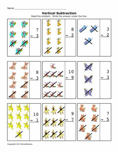 Free Math Worksheets, Subtraction Differences 0-10, Vertical ...