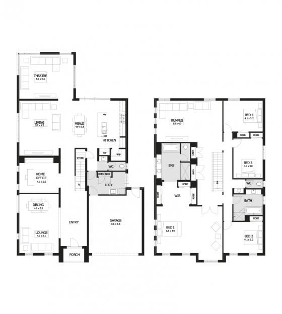 Residence 46 double storey home design 4 bedroom 2 for Two storey house plans with 4 bedrooms