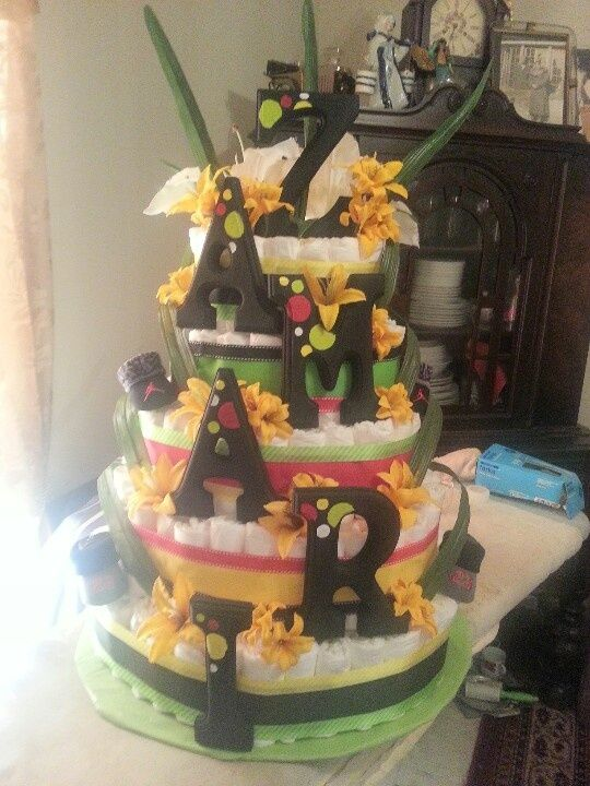 Jamaican Baby Shower Jamaican Themed Diaper Cake Baby