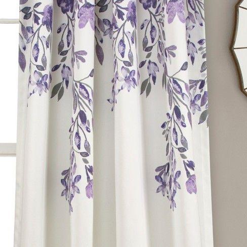 Set Of 2 84 X52 Tanisha Room Darkening Window Curtain Panels Purple Gray Lush Decor Curtains Panel Curtains Floral Room