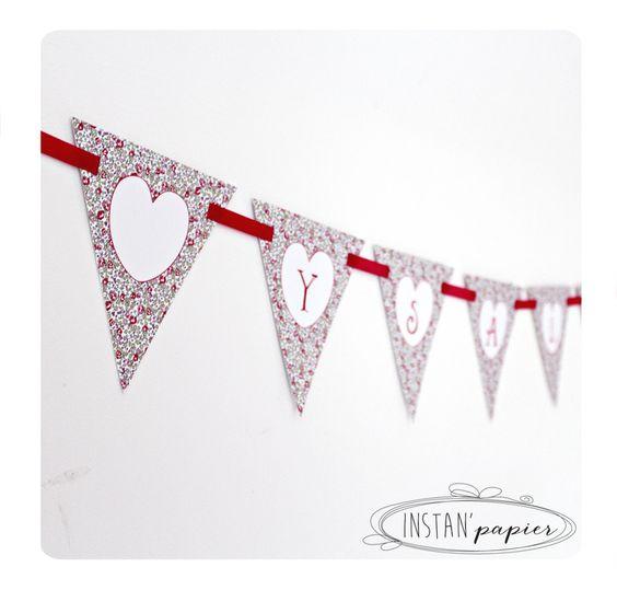guirlande prnom avec fanions en liberty eloise rose pour dcoration personnalise de fte - Guirlande Prenom Liberty