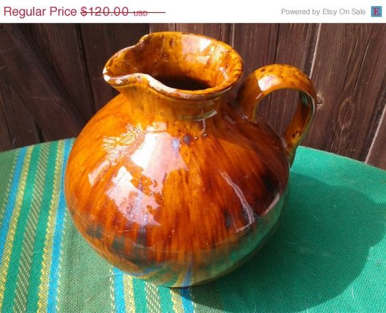 ON SALE RARE Antique 1920s French Provence Pitcher - Orche Brown-  Hand Painted - Handmade Jug - Large Pitcher - Vintage 1900s