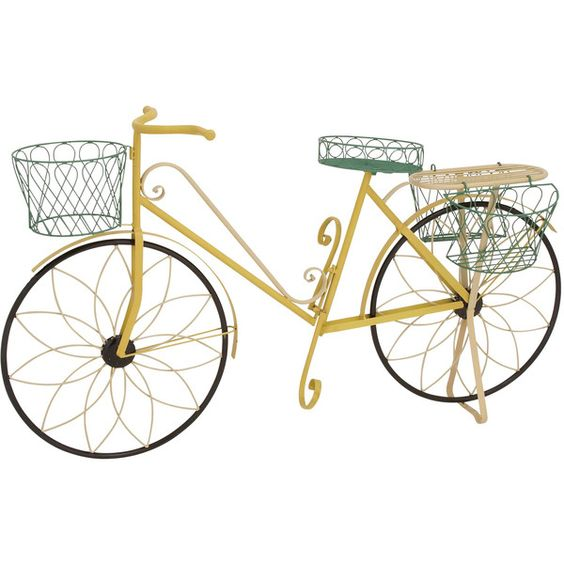 multi color garden bicycle planter (iron) ($63) ❤ liked on