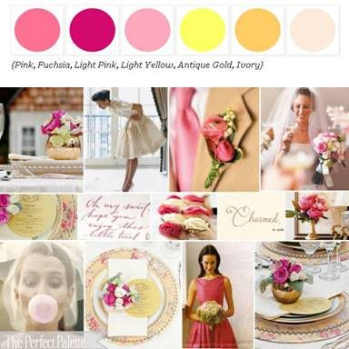 Lovely Palette of Shades of Pink, Yellow + Ivory via The Perfect Palette.