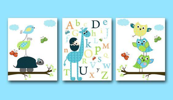 "Childrens art Kids Wall Art Baby Boy Nursery Art Baby Room Decor Nursery print set of 3 8""x10 owl decor nursery alphabet  giraffe blue green. $42.00, via Etsy."