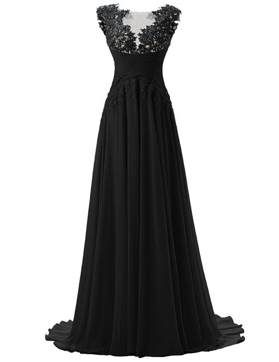 Dresstells Long Prom Dress Chiffon Bridal Wedding Dress Bridesmaid Dress Black…