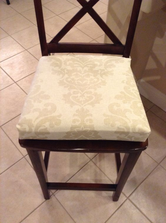 Damask print Kitchen chair cushion, barstool, counter stool seat pad. Berlin by Premier Prints. Ivory, Cashmere, Indigo options. Washable. by BrittaLeighDesigns on Etsy