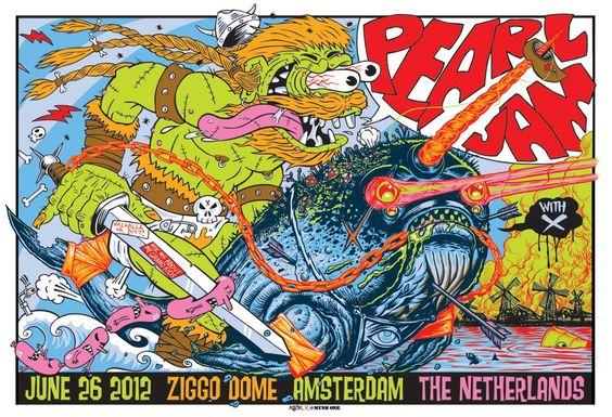 The PJ Vs. Series Amsterdam. Poster artwork: Frank Kozik vs. MUNK ONE.