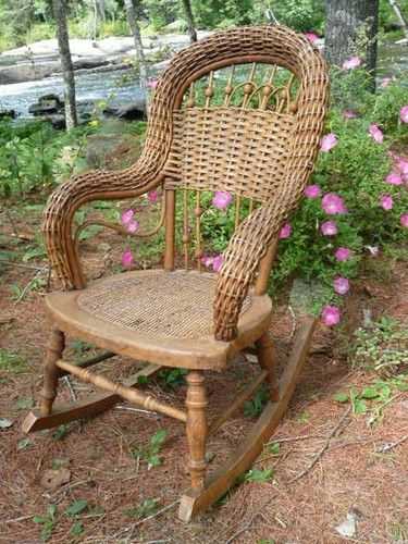 antique heywood wakefield wicker child 39 s rocking chair rock a bye baby pinterest antiques. Black Bedroom Furniture Sets. Home Design Ideas