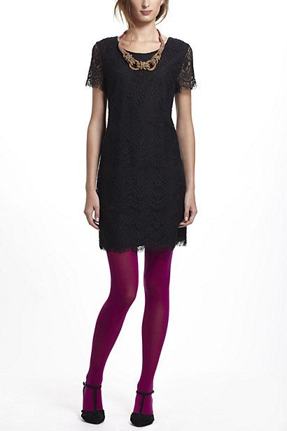 Black Dress with cute colorful tights