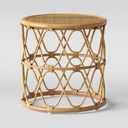 12 Living Rooms We Want To Copy Immediately In 2020 Round Side Table Side Table Rattan Side Table