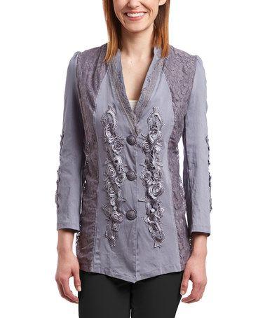 Look what I found on #zulily! Gray Floral-Embellished Linen-Blend Jacket - Women #zulilyfinds