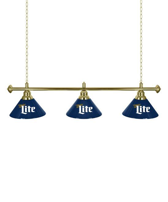 Miller Lite Retro Three-Light Brass Hanging Lamp