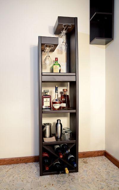 Cantina cava con luz hermosa cantina vertical en madera for Bar de madera para sala