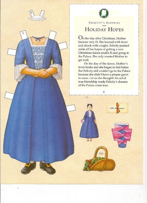 Felicity's Paper Dolls an AMERICAN GIRL by Pleasant Company Publications, 2005: Page 13 (of 30). Even pages are the backs of odds and contain description of outfit and possibly book page (1 through 20)