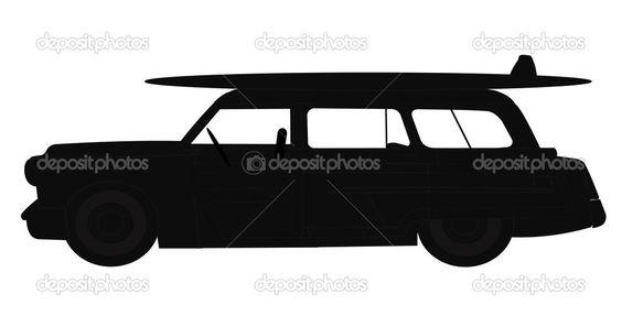beach car woody silhouette - Google Search