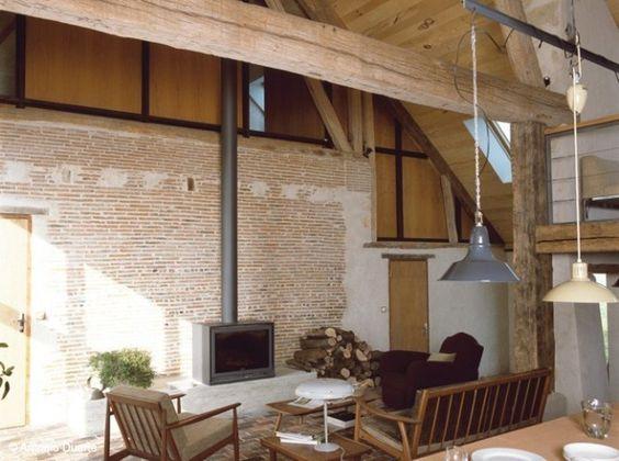 R novation longere grange pinterest assiettes salons et r novation - Interieur maison ancienne ...