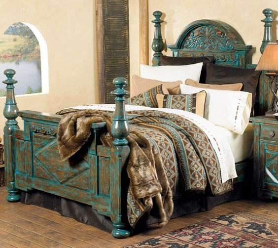Rustic chic turquoise decorating carved turquoise bed for Turquoise bed frame