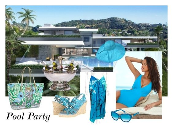 """""""Pool Party in a Blue One Piece"""" by sojazzed ❤ liked on Polyvore featuring Venus, Roberto Cavalli, Eric Michael, Lilly Pulitzer and onepieceswimsuit"""