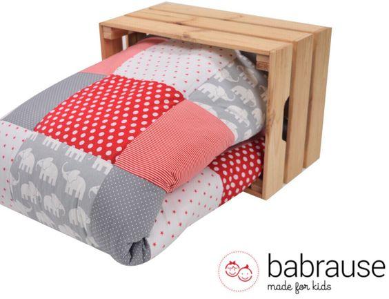 babrause Krabbeldecke - Babydecke Laufstall Elefant rot - ein Designerstück von babrause bei DaWanda