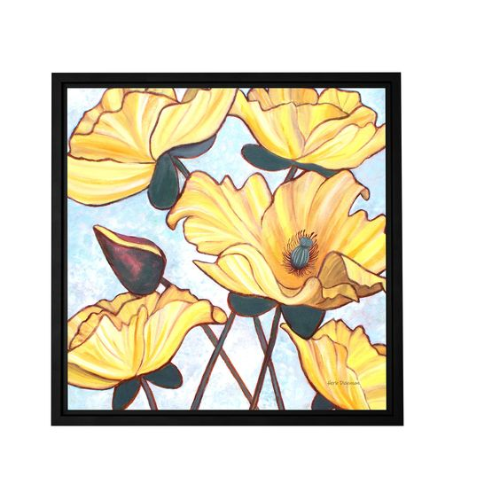 ArtWall Herb Dickinson 'Golden Blooms' Floater-framed Gallery-wrapped Canvas