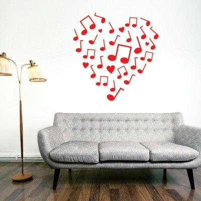 """Adesivo Murale - Cuore di Musica.  Adesivo murale di alta qualità con pellicola opaca di facile installazione. Lo sticker si può applicare su qualsiasi superficie liscia: muro, vetro, legno e plastica.  L'adesivo murale """"Cuore di Musica"""" è ideale per decorare il vostro soggiorno o camera da letto. Adesivi Murali."""