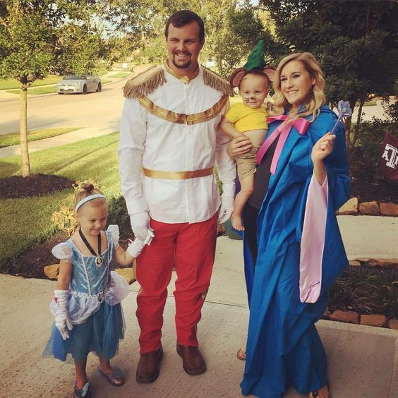 Loved making our family Cinderella themed for Halloween!! Cinderella with her prince, fairy godmother and of course Gus Gus!!