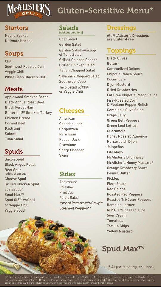 Mcallister Deli Gf Menu Deli Food Gluten Free Eating Soup And Sandwich