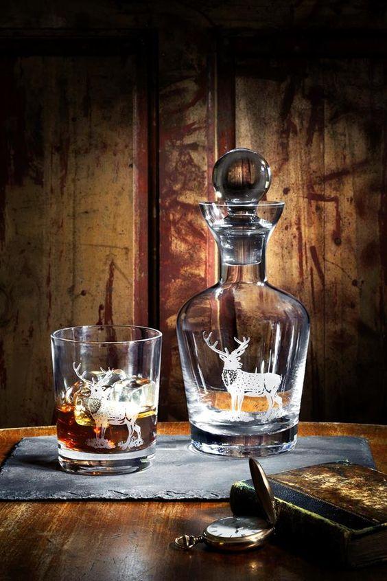 Spode Glen Lodge Hirsch Glaskaraffe und Whiskey Glas www.kippax.de/Geschirr/Spode/