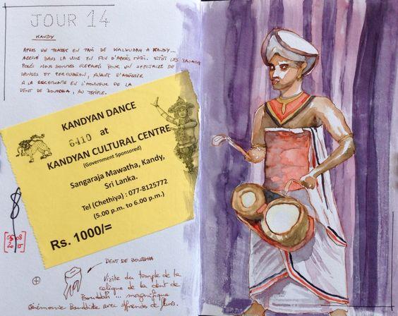 Dance à Kandy  Sri Lanka # watercolor # aquarelle # sketch # travel journal  # carnet de voyage  # Sri Lanka
