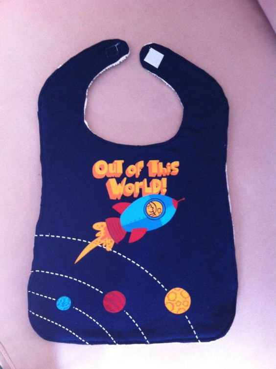 Upcycled TShirt Bib  Blue Out of This World by MnStyle on Etsy, $10.00