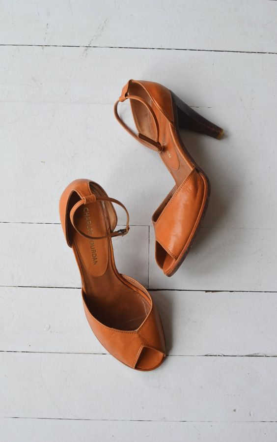 Charles Jourdan shoes vintage 1970s leather heels by DearGolden