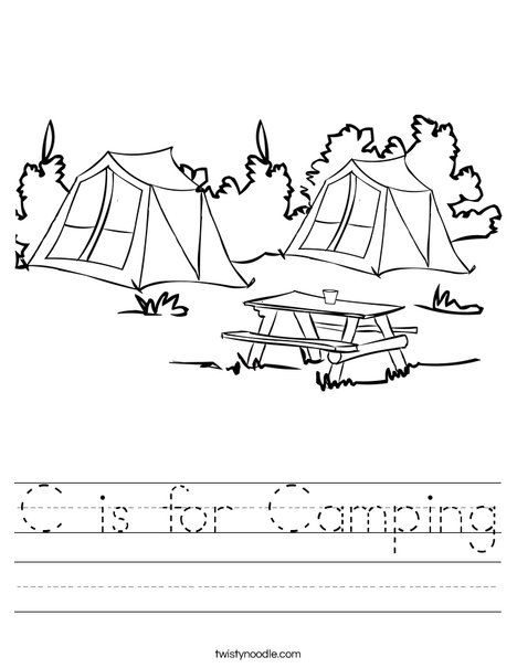 math worksheet : c is for camping worksheet from twistynoodle camping  : C Worksheets For Kindergarten
