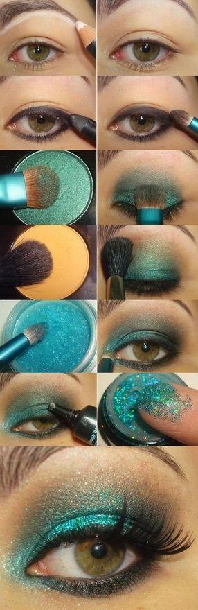 Turquoise: Pretty Eye, Eyeshadow, Mermaid Eye, Eyemakeup, Peacock Eye, Makeup Idea