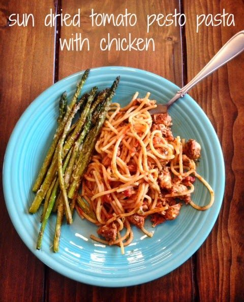 Easy Dinner: Sun Dried Tomato Pesto Pasta w/ chicken: