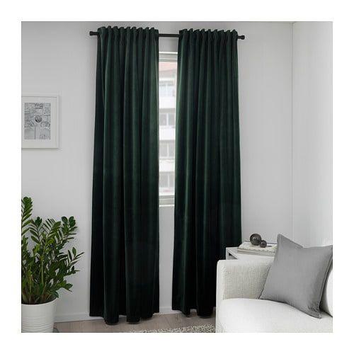 Sanela Room Darkening Curtains 1 Pair Dark Green 55x98