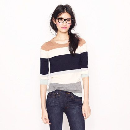 Tippi sweater in colorblock stripe by J. Crew :) casual :)