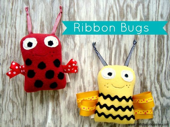 Print off the free pattern- ribbon bugs. Designed by Patchwork Posse. Great beginner sewing project.
