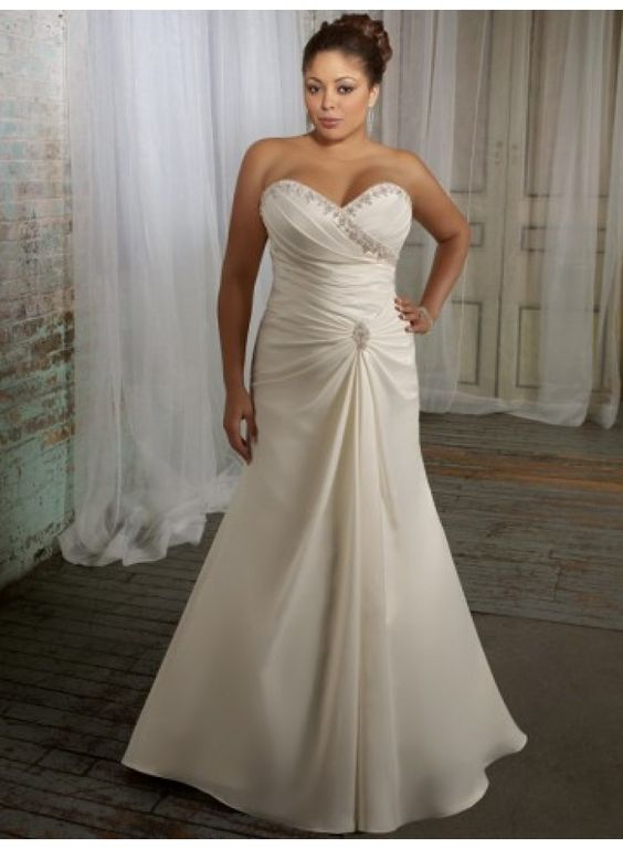 A-Line Sweetheart Beading Ruching Brush Train Satin Wedding Dresses WE3315