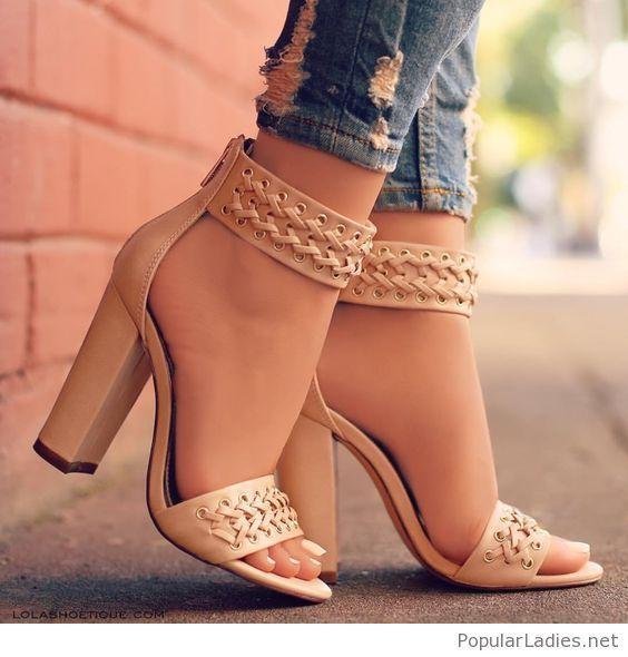 Gorgeous Medium Heel Leather Sandal Shoes For Girls Fashion Heels Sandals Heels