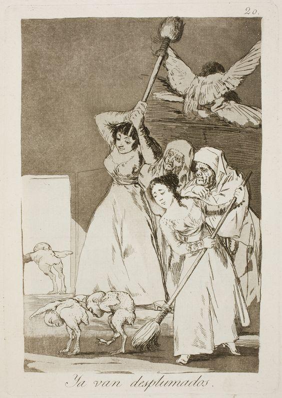 """Francisco de Goya: """"Ya van desplumados"""". Serie """"Los caprichos"""" [20]. Etching, aquatint and drypoint on paper, 215 x 151 mm, 1797-99. Museo Nacional del Prado, Madrid, Spain"""