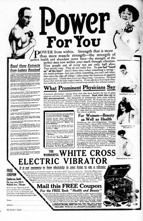 White Cross Electric Vibrator ad NYT 1913 - Vibrator (sex toy) - Wikipedia, the…